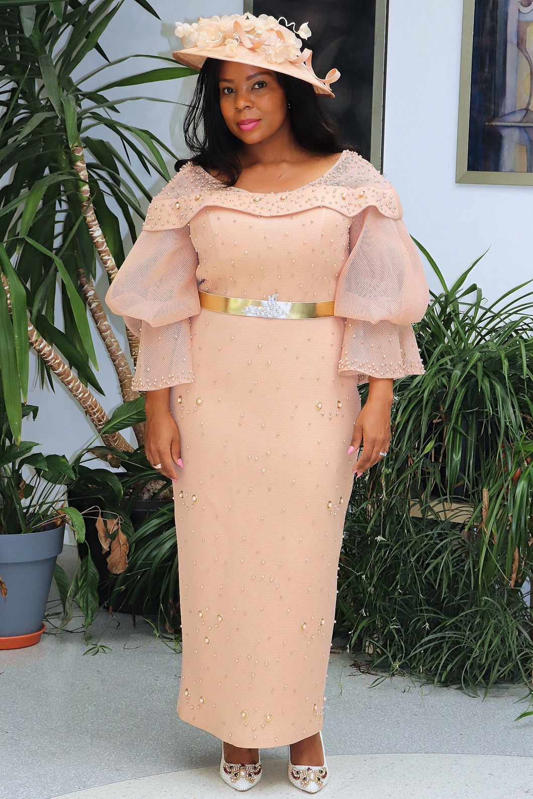 Peach Long Mother of the Bride Dress