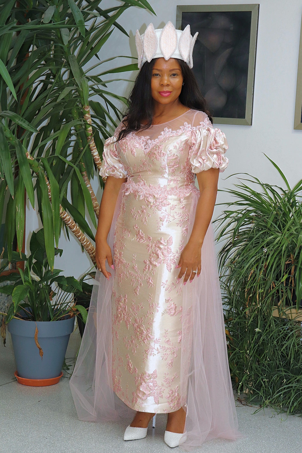 Pink Mother of the Bride Evening Dress With Lace