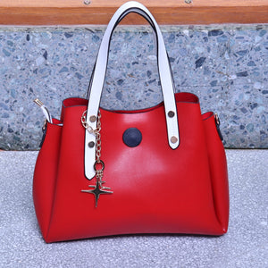 Red with White Straps Handbag