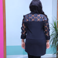 Long Black Top With Petal Sleeves