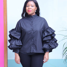 Load image into Gallery viewer, Black Button Top With Ruffle Sleeves