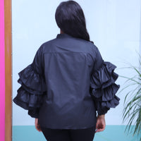 Black Button Top With Ruffle Sleeves