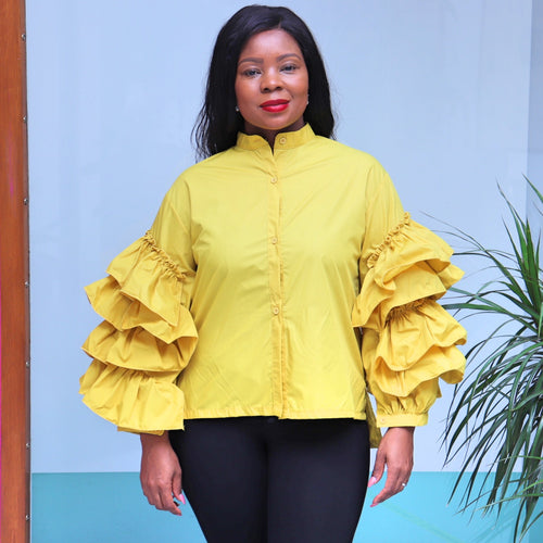Yellow Button Top With Ruffle Sleeves