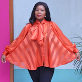 Orange Organza Blouse With Long Sleeves