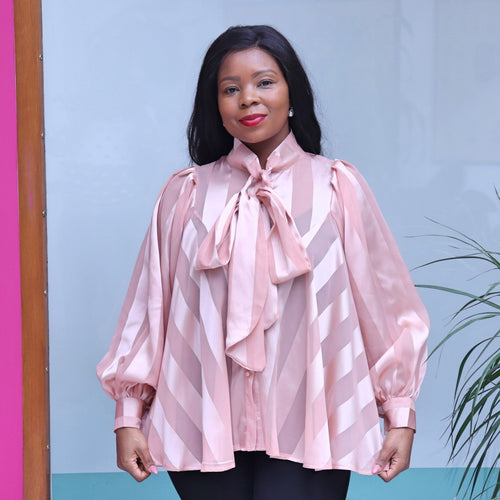 Pink Organza Blouse With Long Sleeves