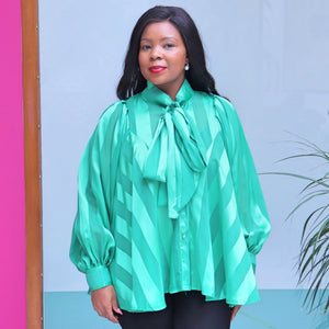 Green Organza Blouse With Long Sleeves