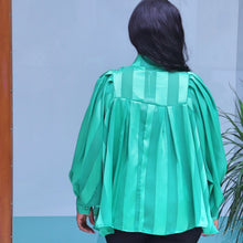 Load image into Gallery viewer, Green Organza Blouse With Long Sleeves