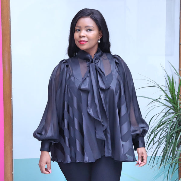 Black Organza Blouse With Long Sleeves