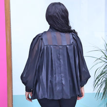 Load image into Gallery viewer, Black Organza Blouse With Long Sleeves