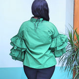 Green Button Top With Ruffle Sleeves