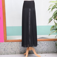 Long Black Pleated Skirt With Buttons on the Side