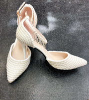 Pearl Wedding Shoes with Hanging Diamantè - Cerrura Fashions