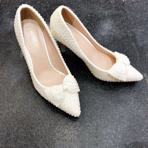 Pearl Wedding Shoes with Low Heel and Bow - Cerrura Fashions
