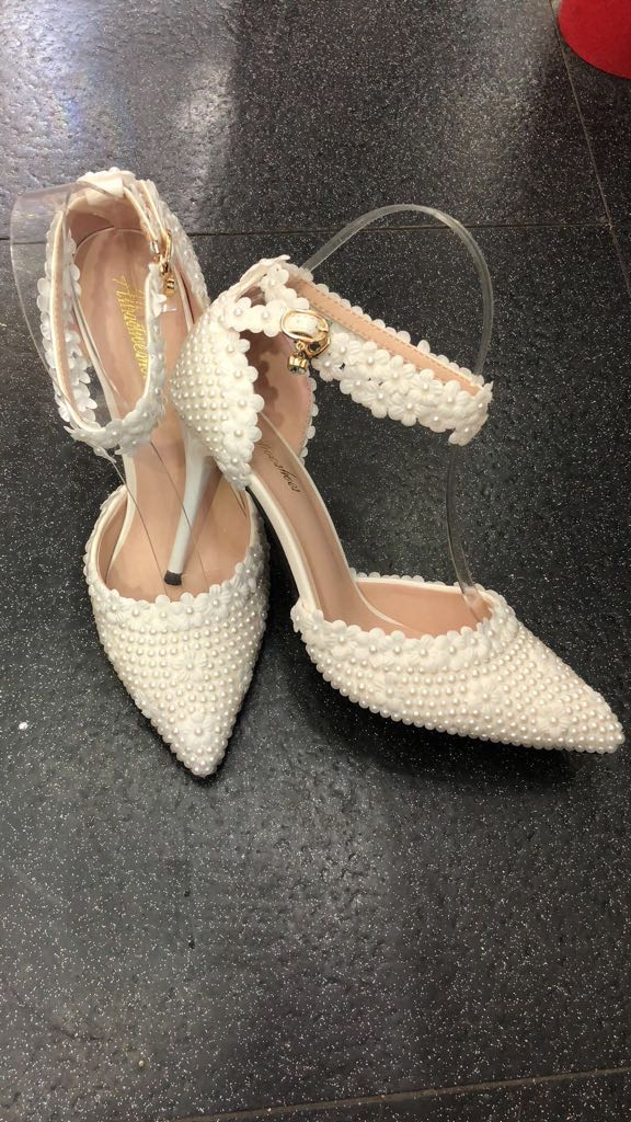 Pearl Wedding Shoes with Flower Petal - Cerrura Fashions