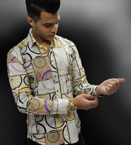 Mens Cream Smart Casual Shirt - Cerrura Fashions