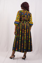 Load image into Gallery viewer, Black African Dress with Kente Print - Cerrura Fashions