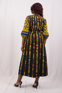 Black African Dress with Kente Print - Cerrura Fashions