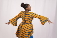 Yellow and Blue African Top and Skirt - Cerrura Fashions