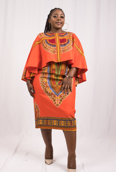 Orange Dashiki African Dress - Cerrura Fashions