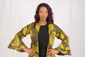 Yellow African Print Long Jacket - Cerrura Fashions