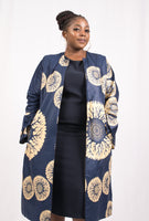Navy African Print Long Jacket - Cerrura Fashions