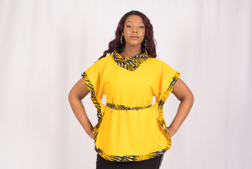 Yellow African Print Top - Cerrura Fashions