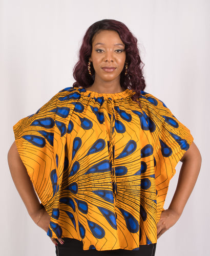 Yellow and Blue African Print Top - Cerrura Fashions