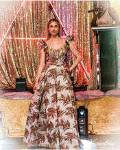 Load image into Gallery viewer, Orange Mix Jacquard Maxi Dress with Diamante Details - Cerrura Fashions
