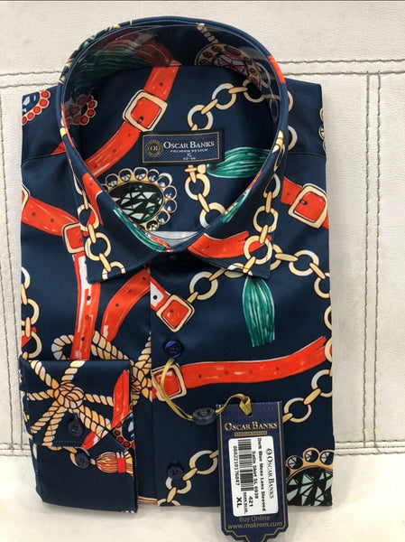 Navy and Red Chains Silk Mens Shirt