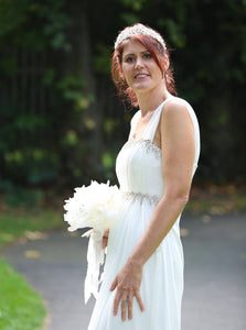 Straight Plain and Simple Cup Sleeve Wedding Dress - Cerrura Fashions