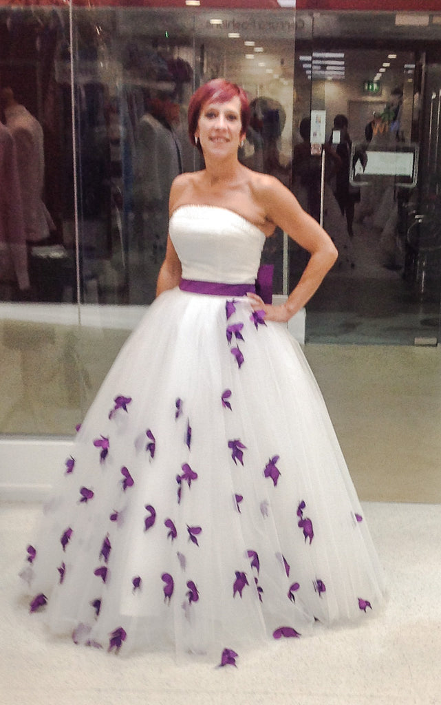 Strapless Princess Ball Gown Wedding Dress with Purple Flower Petals ...