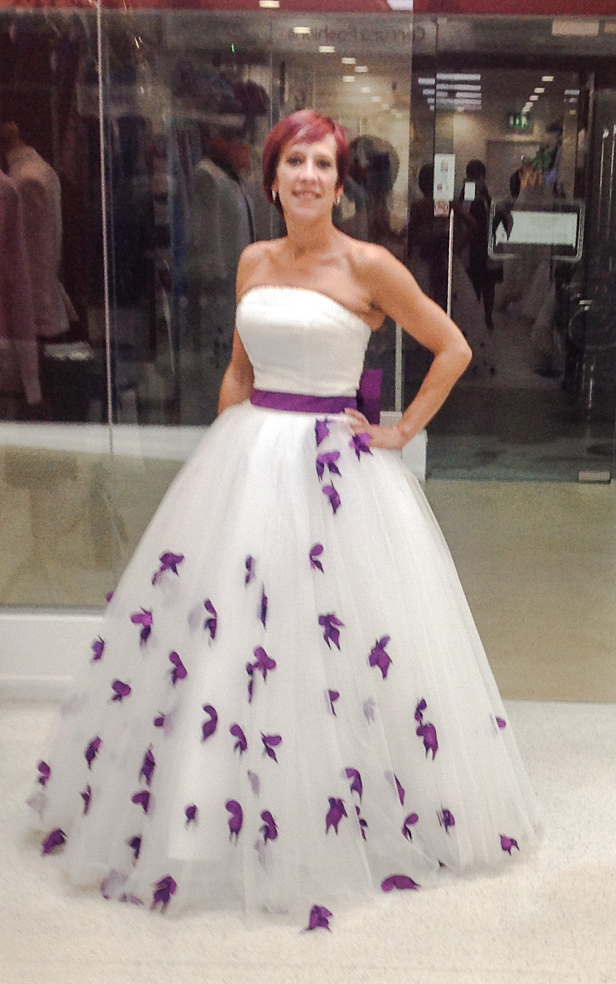 White and Purple Wedding Dress - Cerrura Fashions