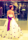 Strapless Princess Ball Gown Wedding Dress with Purple Flower Petals - Cerrura Fashions