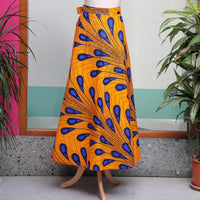 Yellow and Blue African Print Wrap Skirt