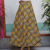 Yellow Multi African Print Wrap Skirt