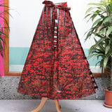 Red and Black African Print Wrap Skirt