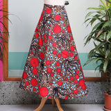 Red Multi African Print Wrap Skirt
