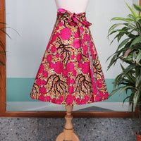 Short Pink African Print Wrap Skirt
