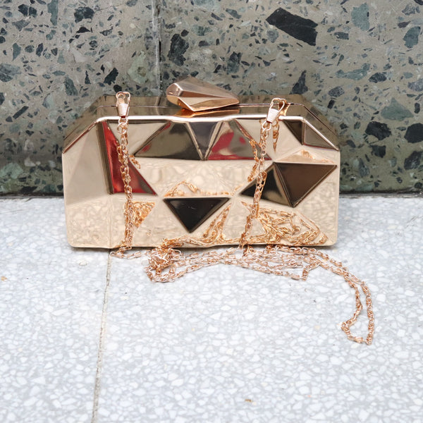 Gold Prism Clutch Bag