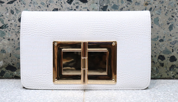 White and Gold Big Clutch Bag