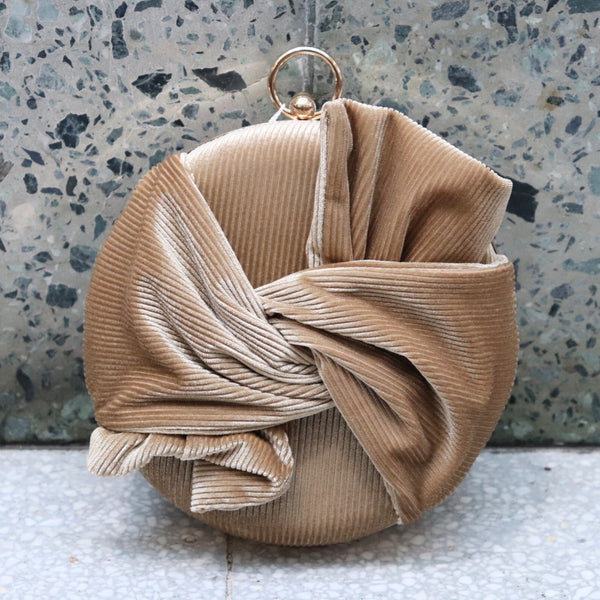Champagne Suede Clutch Bag