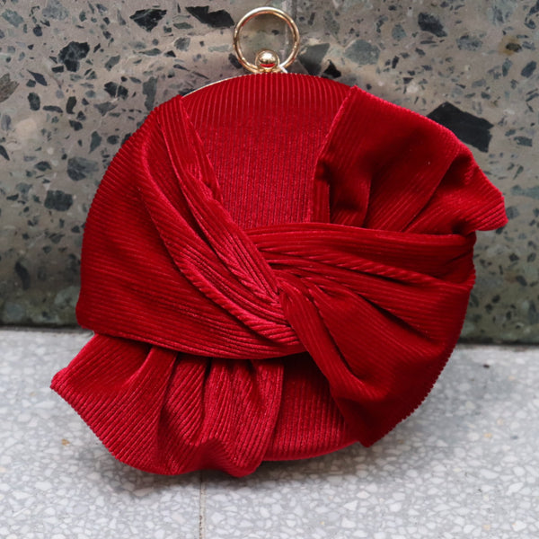 Red Round Suede Clutch Bag