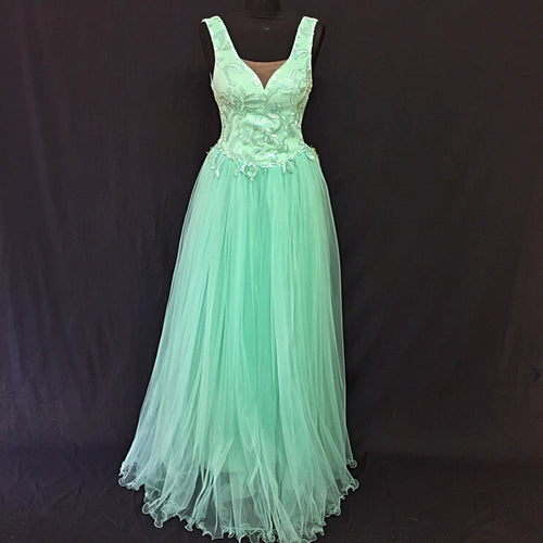 Long Turquoise Prom dress with Tulle Ruffles - Cerrura Fashions