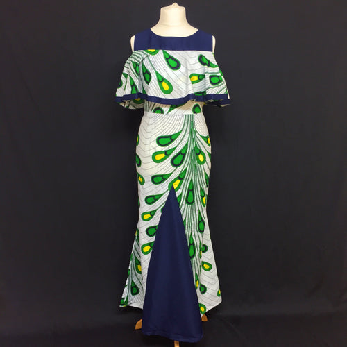African Print Dress with Peplum Overlay - Cerrura Fashions