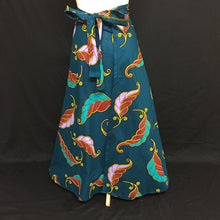 Load image into Gallery viewer, Turquoise African Print Wrap Skirt