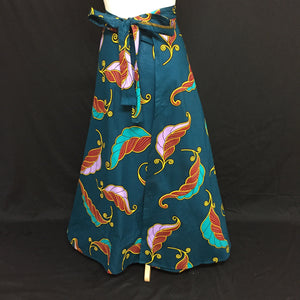 Turquoise African Print Wrap Skirt