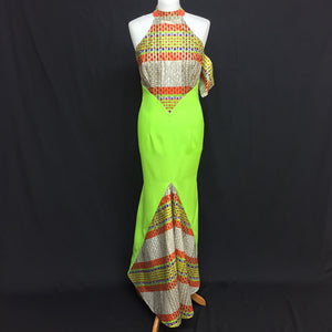 Green African Print Dress With Halter Neck Design and Fishtail