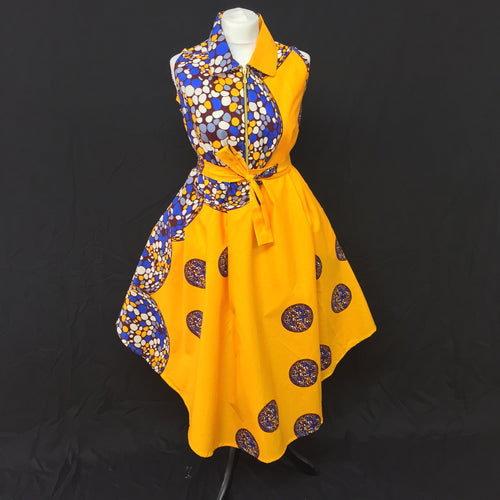 Yellow African Print Flared Dress