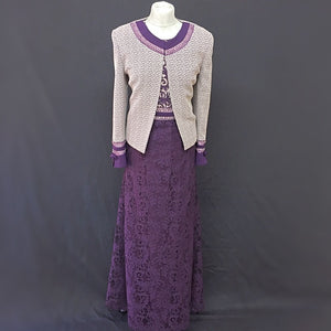 Purple Long Lace Flared Dress and Jacket