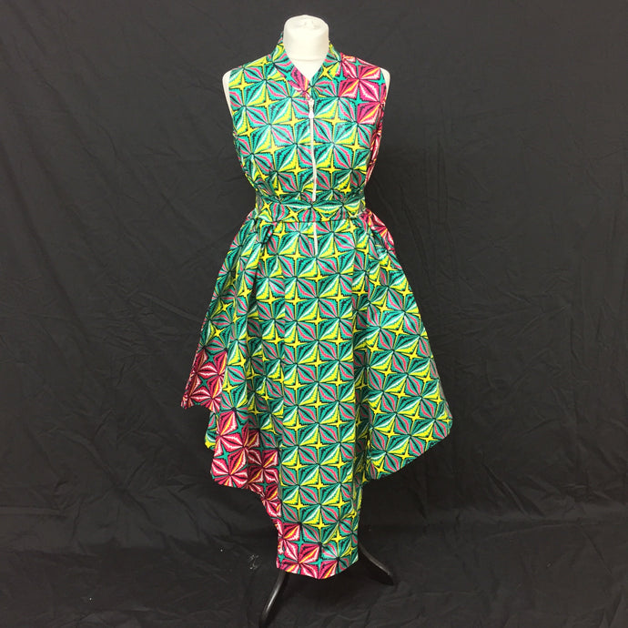 Green African Print Flared Dress